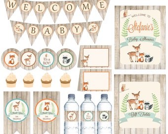 Woodland Baby Shower Party Package, It's a BOY Woodland baby shower, Rustic Woodland Baby Shower, PRINTABLE FILES