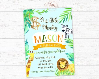 Jungle Invitation, Safari Invitation, Litte Monkey Birthday Invitation, Wild Invitation, Jungle Safari Birthday Invitation PRINTABLE FILE