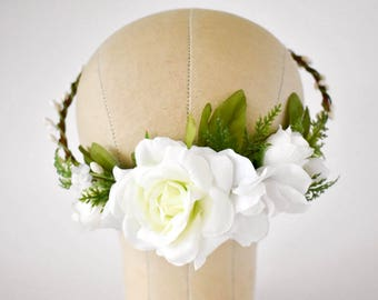 White flower crown. White floral crown with greenery. White bridal crown. White silk flower crown. Wedding circlet with white roses.