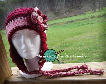 Dainty Little Lady crochet hat, crochet flower, winter hat with tassle braids