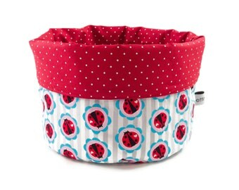 Fabric basket Ladybug stripe red white - bread basket accessories