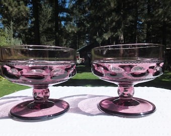 2 Large Amethyst/Purple/Lilac Kings Crown Glass Compote Dishes
