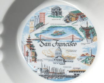 Collectible San Francicso Ceramic Ashtray, Souvenir San Francisco Ashtray