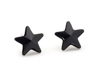 Swarovski Black Star Earrings Star Stud Earrings Crystal Earrings Swarovski Studs Sterling Silver Star Earrings Post Earrings Gift For Her