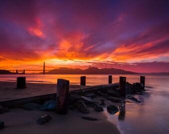 Print San Francisco Bay at Sunset - Beautiful San Francisco Beach and Sunset Clouds Photo - Stunning Pink & Purple Colors - California Art