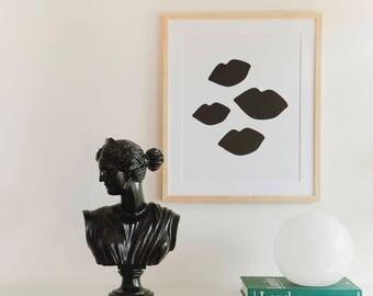 Bombshell Kisses Black and White Lip Print Poster 16x20 Home Decor Wall Art