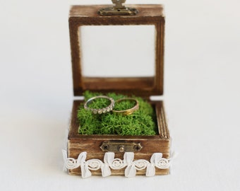 Wedding Ring Box, Box With Moss, Glass Box, Ring Bearer Box, Wedding Box With Lace Trim, Romantic Wedding, Wedding Ideas, Rustic Ring Box