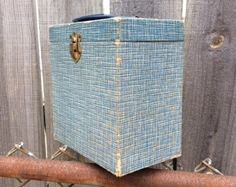 """Vintage 45 Record (7"""") Vinyl Storage Carrier/Box with handle"""