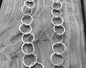 Long Silver Necklace, Hammered Silver Hoops, Argentium Silver Chain, 32""
