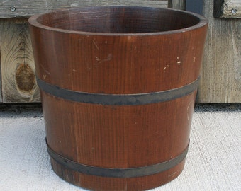 Antique Wood Bucket, Grain Storage Bucket, Primitive Farm Bucket