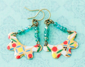 Colorful Bohemian Vintage Tin Earrings with Teal Beads, Daher English Tin, Boho Chic Jewelry, Unique Handmade Jewelry.