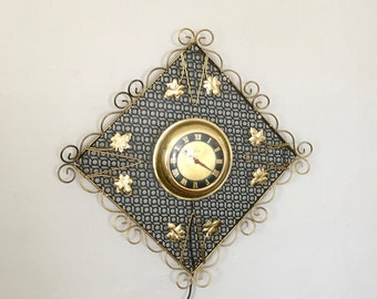 Midcentury Wall Clock , Black and Gold, Vintage Electric Wall Clock