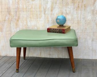 Midcentury , Green Vinyl Ottoman, Vintage Footstool