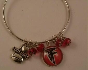Football Falcons Handmade Bangel Bracelet 18mm Charm w/ Football Charm Charm Beads