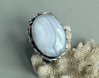 Mexican lace agate ring  , 925 sterling silver , texture ring, big stone, big ring, ring with stone, statement rings