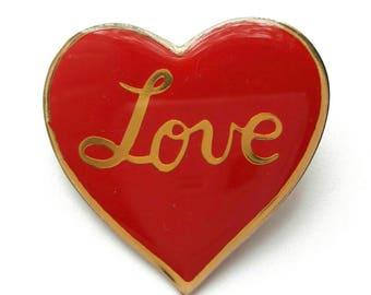 Vintage Red Heart Brooch Pin, Love Brooch, Love Pin, Red and Gold Love Brooch, Heart Pin, Cute Heart Pin, Gold Love Pin, Vintage Brooch