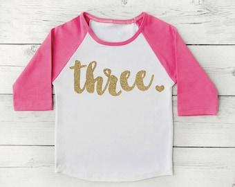 3 Year Old Birthday Shirt Girl Three Years Old Birthday Outfit Raglan Toddler Shirt 3rd Birthday Shirt 102