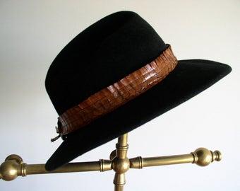 Vintage black wool felt Hat by Madcaps