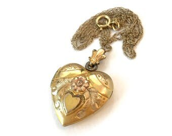 Vintage Heart Locket Pendant Necklace Gold Filled Bridal Bridesmaid Wedding Jewelry Gift for Her Birthday Estate Jewelry Heart Charm Fob