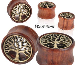 Tree of Life Wood Plugs - 2pc Ear Plugs - Ear Gauges - Tribal Plugs - Indian Plugs - Plugs - Gauge Jewelry - Ear Tunnel - Wood Tunnel
