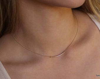 Tube necklace | Gold Filled Tube Necklace |  Layering Necklace | Dainty tube necklace | Curved bar necklace | Delicate gold tube necklaces