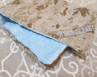 Custom MARPAT Desert Digital Baby Blanket with Nametape