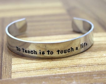 Teacher Gift / Teacher Appreciation / To Teach is to Touch a Life / Daycare Gift