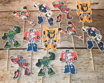 Rescue Bots Transformers cupcake toppers