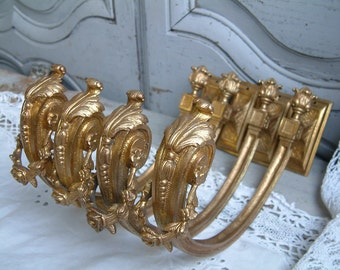 Set of 4 antique french giant gilded bronze curtain tie backs. Louis XVI motif. French chateau. French curtain hardware.French curtain holds