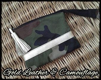 Gold LEATER & camouflage - I-phone/make-up bag 103 fb. 08-420