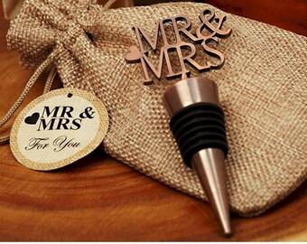 Mr. and Mrs. Bottle Stopper, Copper Finish Wine Bottle Stopper, Mr. and Mrs. Design, Wedding Favors, Wine Bottle Stopper Favors (4020)