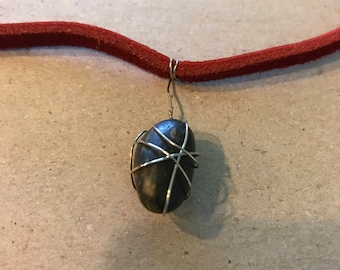 Leather wrapped stone necklace
