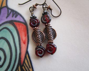 Red and Copper Celtic Glass Earrings 2 Inch Spiral Czech Picasso Glass Earrings Hypoallergenic Niobium Ear Wires with Circle of Life Energy