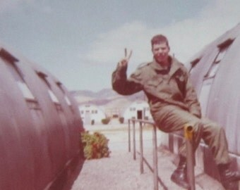 War & Peace - Vietnam War Era 1972 American GI Flashes Peace Sign Color Snapshot Photo Color Snapshot Photo - Free Shipping