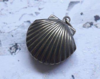 Brass Seashell Locket Pendant Jewelry Supplies
