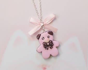 necklace kawaii bear chocolate polymer clay