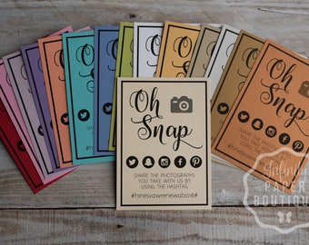 Oh Snap Cards • Hashtag Cards • 4x6 or 5x7 Facebook, Twitter, Instagram and Pinterest Icons • weddings, bridal events, & dinner parties