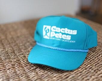 vintage turquoise cactus pete casino jackpot nevada  foam dome hat