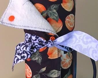 Unpaper Towels, Reusable Paper Towels, Cloth Paper Towels, Snapping Paper Towels---- Oranges