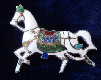 Cloisonne on Sterling Silver Trotting Horse Pin Brooch