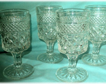 Vintage Anchor Hocking WEXFORD GLASSWARE 6 Wine Glasses 4 1/2""