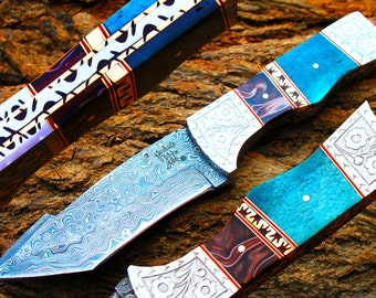 """4.7""""Damascus Blade Collector Hunting Knife w/Engraved Brass Bolsters,Dyed Buffalo Bone,File-Work,Custom Leather Cover UDK-AF-09"""