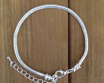 "Silver Bracelet for Large Hole Pandora Style European Beads and Charms 9.25"" Total Length Including Chain Extender 3mm Snake Chain Finished"