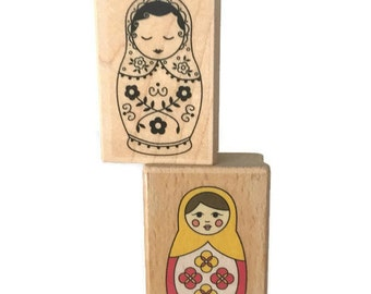 Pair of Matryoshka Nesting Doll Rubber Stamps, Russians Nesting Dolls Stamps