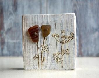Small Sea Glass Art on Wood. Original 3D Art. Wood burning. Mixed Media Art