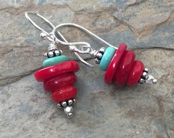 Coral, Turquoise and Silver Earrings, Coral Stack Earrings, 1.30 inches