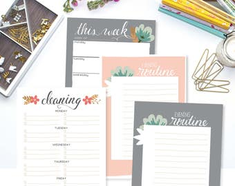 The Homemaker's Planning Set A5 Monthly Printable Pages, Half Sheet Planner, Do Justly Theme, Menu Planning, Cleaning Checklists, Weekly