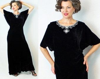 "1930s velvet dress / 30s velvet dress / velvet evening gown / beaded dress / 30s evening gown / 1930s evening gown / waist 32""- 35"""