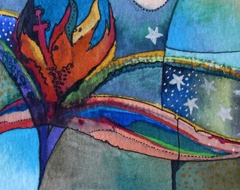 No name 2-Aceo  ORIGINAL Watercolor Painting,One of a kind,Abstract ,colorful,vivid Painting,Aceo,Ooak,Pen and Ink,Aquarelle,one of a kind
