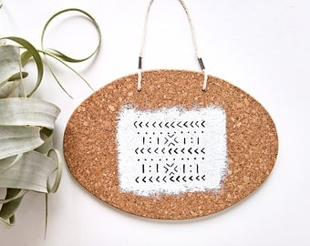 Mud Cloth Wall Hanging -Black and White- Cork Art